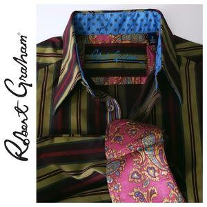 Robert Graham Medium Striped shirt Paisley cuffs